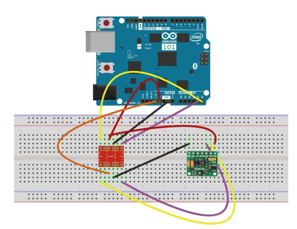 Connection schema for the MAX30100 with Arduino 101
