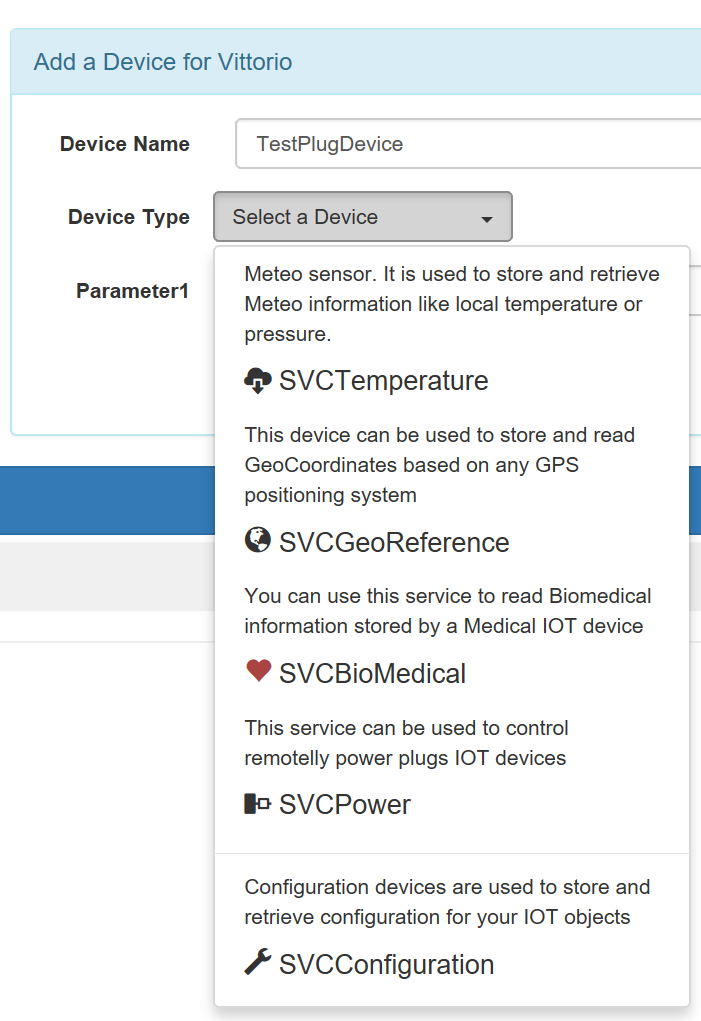 'Add a Device' button in miniservice BVioTManager web-app. It is used to add a device in the infrastructure