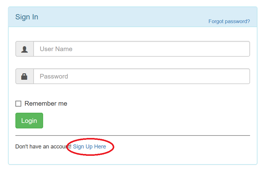 sign-up button in miniservice BVioTManager web-app